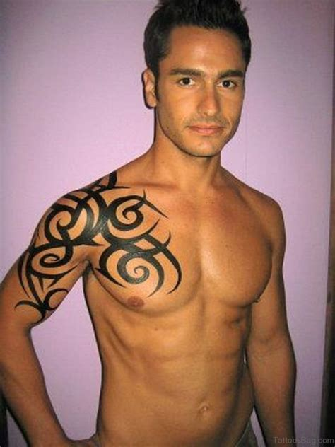 tribal tattoo on chest and shoulder 59 great tribal tattoos on chest