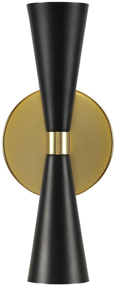 Black Sconces Kalco 310422bvb Milo Contemporary Black And Vintage Brass