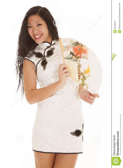 Dress Smile White asian white dress fan smile stock photos image