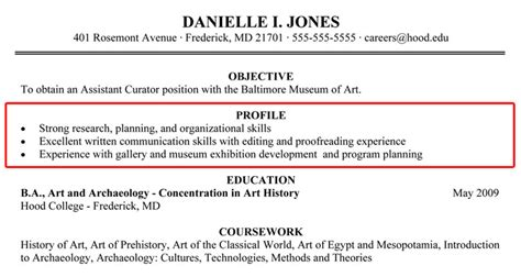 resume profile section exles writing your resume college