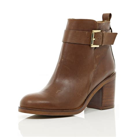 heeled boots river island brown block heel ankle boots in brown lyst
