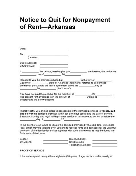 template of notice to quit free arkansas 10 day notice to quit for non payment of rent pdf template form