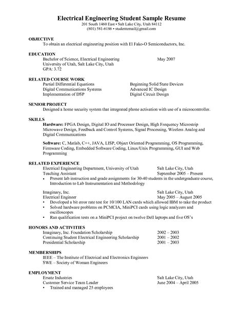 resume format of engineering student engineering student resume search resumes