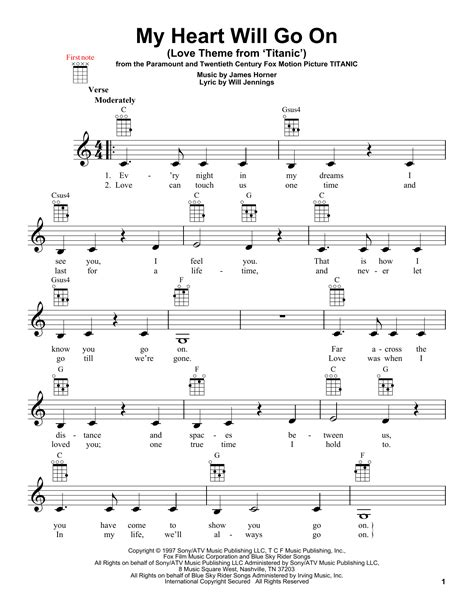tutorial guitar my heart will go on my heart will go on love theme from titanic sheet