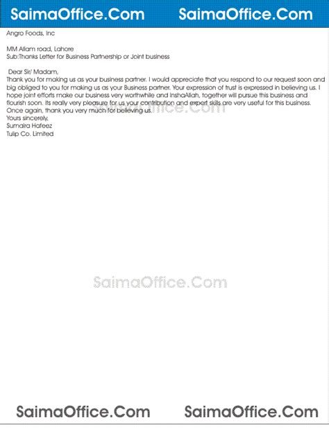 thanking letter for business partnership thanks letter for business partnership documentshub