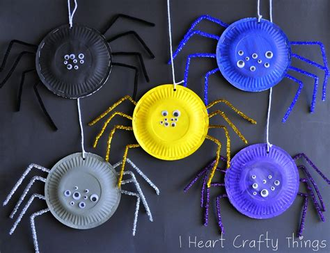 Paper Spider Craft - i crafty things paper plate spiders