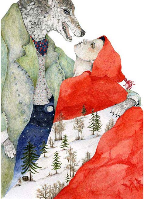 little red riding hood and wolf illustration wolf and red riding hood print illustration 8x11