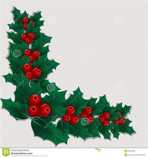 christmas leaf decorative corner element with leaves and berries stock vector image 39252685