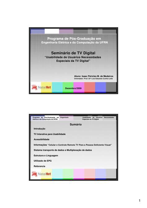 programa designmantic usabilidade de usu 225 rios necessidades especiais da tv digital