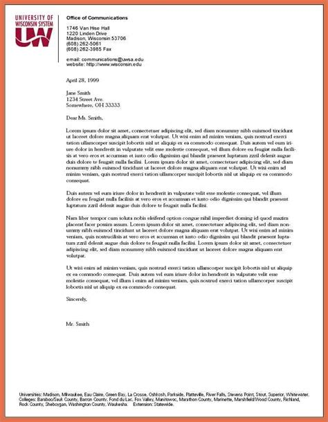 business letter format of wisconsin letterhead exles bio exle