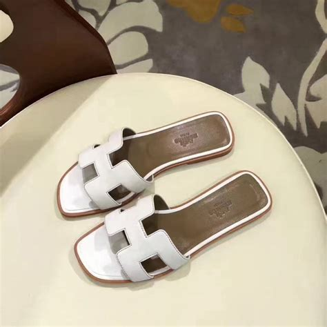 Sandal Hermes Oran Mirror Quality top quality original design oran sandals leather slippers white