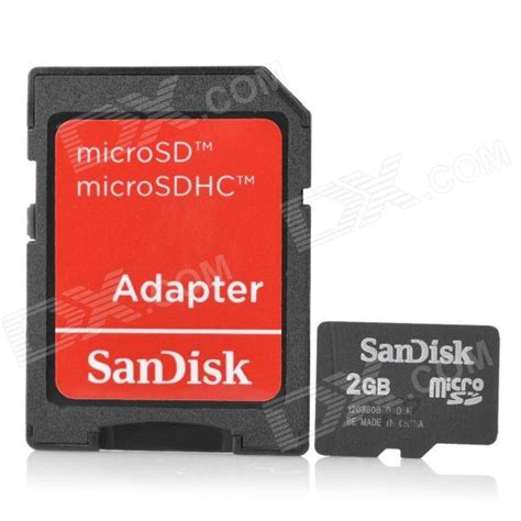 Micro Sd Sandisk 2gb sandisk micro sd tf card w sd adapter black 2gb free shipping dealextreme