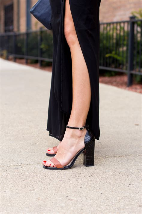 what of shoes to wear with a black maxi dress style