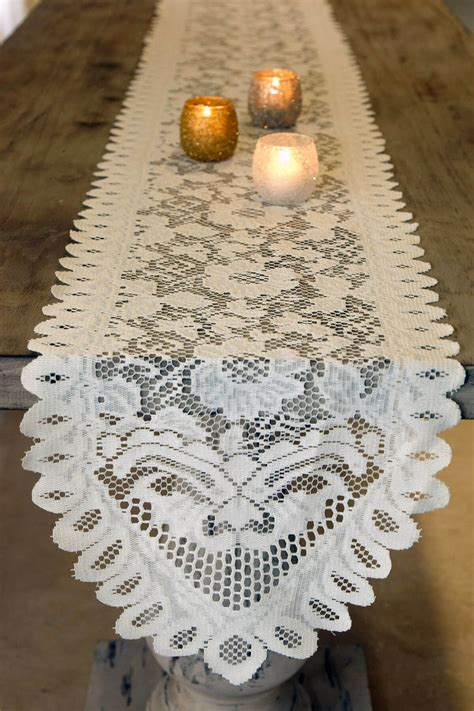 ivory lace table runner table runner lace ivory 13 x 96in