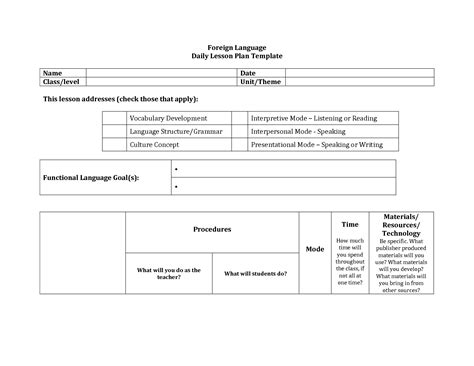 foreign language lesson plan template foreign language lesson plan format search