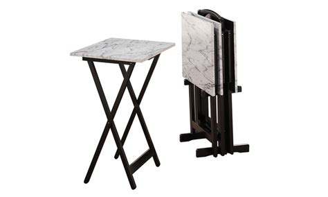 tv tray table set faux marble tv tray table set groupon goods