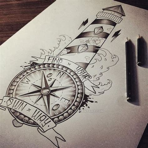 6 lighthouse tattoo designs