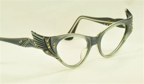 unique glasses unique winged cat eye glasses blue gray with rhinestones