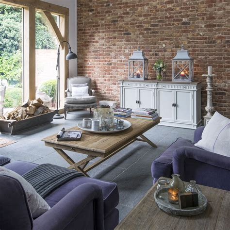 modern country modern country living room with exposed brick wall