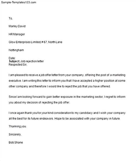 Rejection Letter Template Word Rejection Letter Sle Word Sle Templates