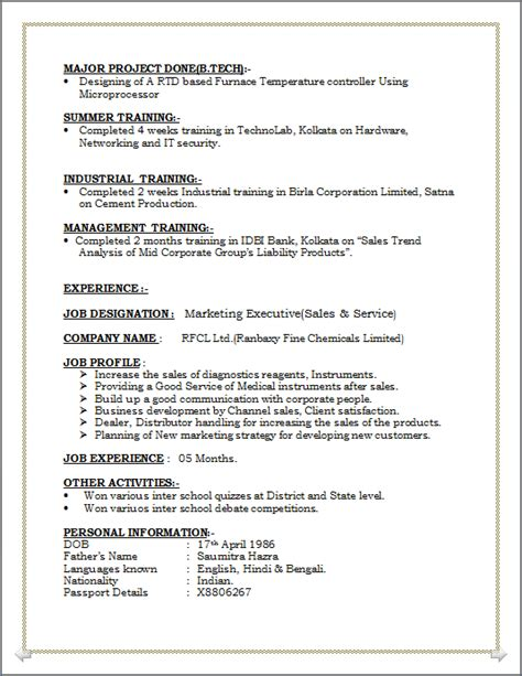 Resume For Minors by Resume Co Resume Sle Of Mba Major