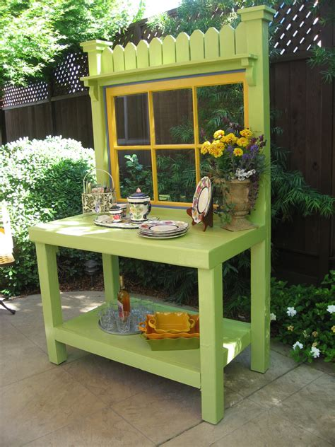 outdoor potters bench green potting bench with vintage window