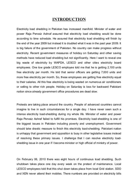 Letter About Load Shedding by Essay On Load Shedding In Karachi