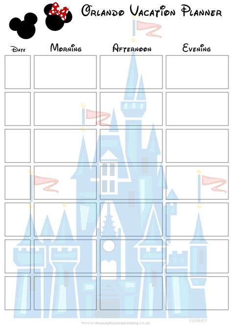 printable orlando holiday planner orlando walt disney world vacation planner free printable