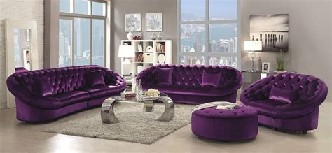 purple living room set romanus purple velvet living room set 511046 coaster