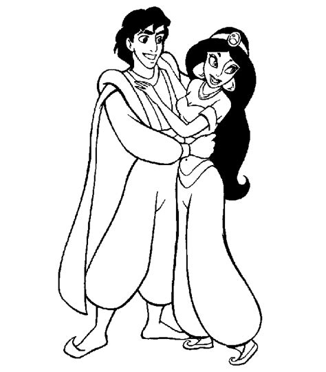 coloring page jasmine aladdin and jasmine coloring pages coloring home