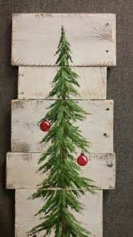 white washed red bulbs christmas pine tree reclaimed