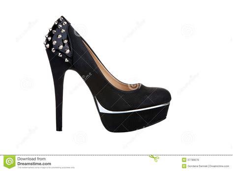 black platform shoe with rivets royalty free stock image