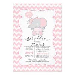pink elephant baby shower invitation zazzle