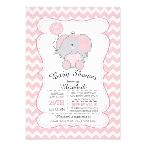 baby shower invites elephants pink elephant baby shower invitation zazzle