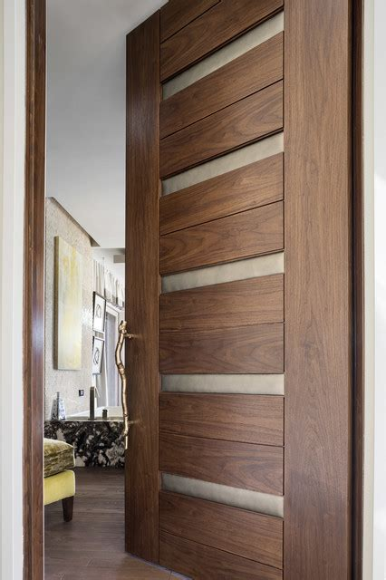 Modern Wood Doors Interior Las Vegas Modern Home Interior Solid Wood Walnut Door With Leather Modern Bathroom