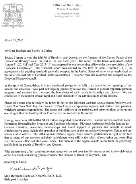 End Of Financial Year Letter Bishop Dimarzio S Letter On Diocesan Finances The Tablet