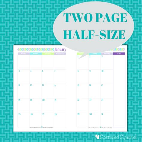 printable calendar half page 8 best images of 2016 printable 2 page per month planner