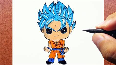 imagenes kawaii de dragon ball z como desenhar e pintar goku super saiyan blue kawaii