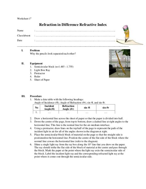 Light Worksheet Answers by 100 Light Reflection And Refraction Worksheet