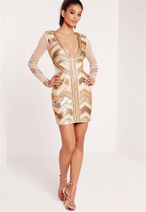 Gold Dress Premium premium sequin embellished chevron plunge bodycon dress gold missguided