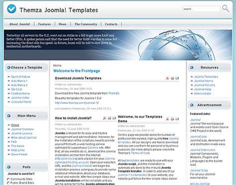 joomla 1 5 templates free free joomla 1 5 x templates colourful world by themza