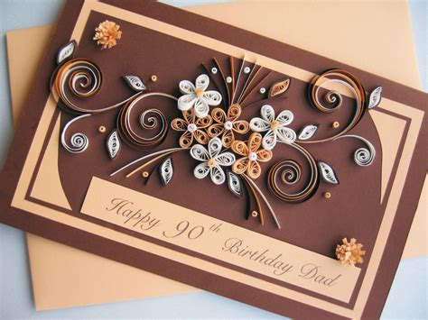 Handmade Paper Ideas - happy 90th birthday card handmade paper quilling by