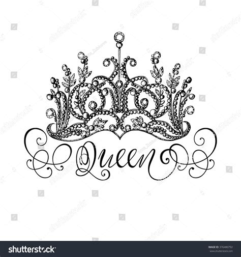 queen tattoo vorlagen elegant handdrawn queen crown lettering graphic stock