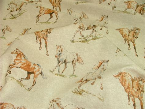 horse fabric for curtains horses vintage linen look animal print designs curtain