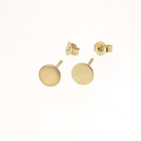 tiny dot stud earrings 14k gold small circle stud