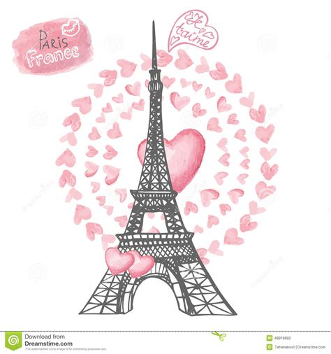 love in paris eiffel tower watercolor hearts stock vector