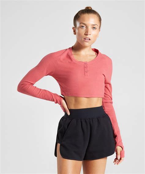 gymshark legacy fitness long sleeve crop top brick red
