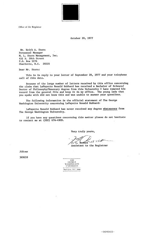 Acceptance Letter Of Washington A Biography Of L Hubbard By Michael Shannon Quot The Shannon Report Quot 1975