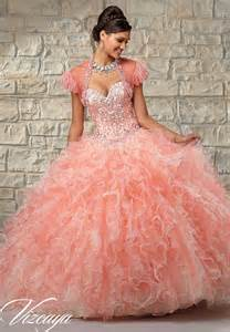 two tone ruffled tulle with beaded bodice quinceanera dress style 89024 morilee