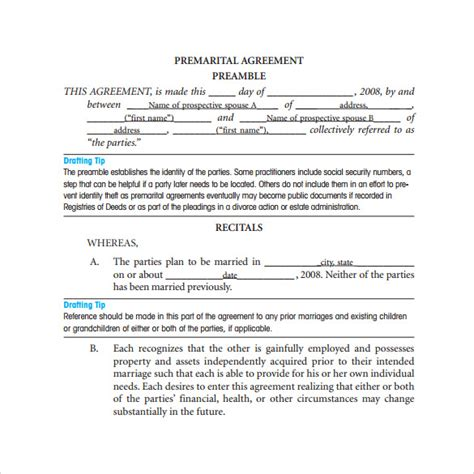 prenuptial agreement template free prenuptial agreement template 7 sles exles